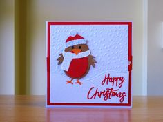 Christmas Card, Handmade - Quick Cutz Robin Die. For more of my cards please visit CraftyCardStudio on Etsy.com.
