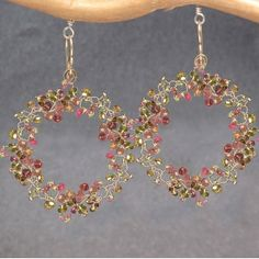 Branch earrings with mixed tourmaline Guenevere 79