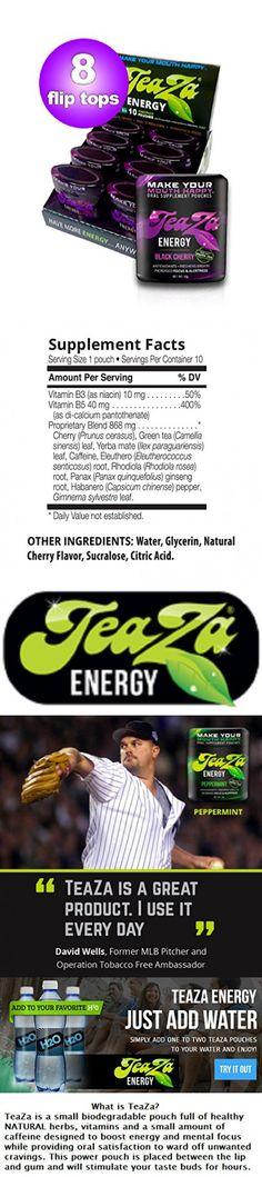 Teaza Black Cherry Herbal Energy Pouch Flip Top 8 Pack
