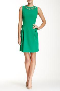 Eliza J Sleeveless Cutout Bi-Stretch Flare Dress