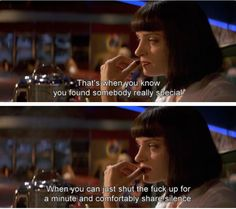 Uma Thurman as Mia Wallace in Pulp Fiction Pulp Fiction Frases, Pulp Fiction Zitate, Quentin Tarantino, Tarantino Films, You Smile, Death Proof, Mia Wallace, Reservoir Dogs, Beaking Bad