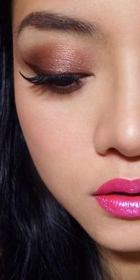 Electric Pink Glitter-Lips with Brown Eyes — ... - The Makeup Box