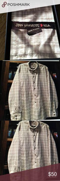 John Varvatos shirt John Varvatos shirt gray&white plaid casual cotton designer shirt Shirts Casual Button Down Shirts