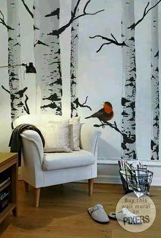 Birch Tree Forest In Winter Mural Repositionable Peel