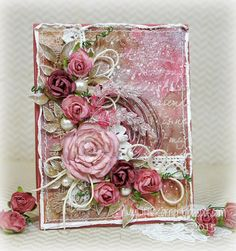 "Hello, again! Today I'm sharing a card that combines my latest fixation with mixed media supplies and my long-time ""fully-loaded shabby chic"" card style. I was playing with some of my sprays one day,"