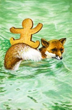 Crossing the river on the fox's tail - The Gingerbread Boy - Robert Lumley - Ladybird Book