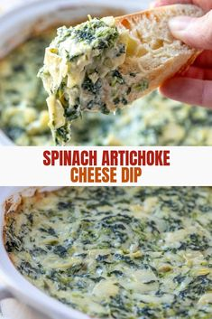 Cheesy Spinach and Artichoke Dip - Onion Rings & Things Spinach Artichoke Dip is your favorite restaurant appetizer made easy and in less than 30 minutes right in your own home. It's creamy, cheesy, and the ultimate party food. Easy Soup Recipes, Dip Recipes, Cooking Recipes, Simple Recipes, Potato Recipes, Cooking Ideas, Vegetarian Recipes, Appetizer Dips, Appetizer Recipes