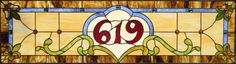 Stained glass house number