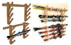 Last winter I decided I wanted to be a skiing family. I learned to ski when I was 12 and have loved it since . Diy Wood Projects, Projects To Try, Surfboard Storage, Garage Racking, Ski Rack, Garage Tool Organization, Lake Cabins, Bedroom Storage, Wine Rack