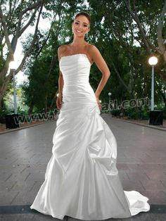 Satin Gown With Straight Strapless Neckline Embellished with Lace Trim Wedding Dresses