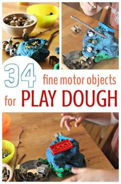 Play dough ideas for add in objects that extend fine motor work beyond squeezing and sculpting.