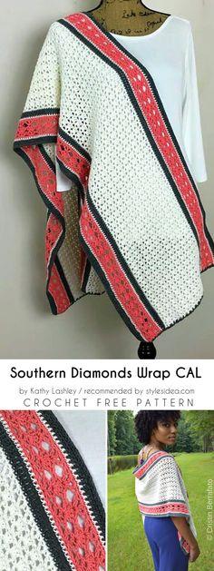 Southern Diamonds Wrap CAL Free Crochet Pattern #crochet #wrap #freepattern #crochetwrap