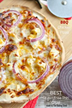 Best Gluten Free Thin Crust BBQ Chicken Pizza- Thinnest Best Gluten Free Crust EVER! + Baking Steel Review and Giveaway