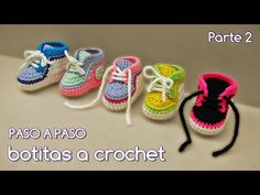 Cómo tejer zapatitos botitas escarpines bebé crochet, ganchillo - VARIOS TALLES (2/2) - YouTube