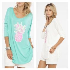 PINEAPPLE PIZZAZ MED & LARGE LEFT Both colors available. Please inquire on available sizes White 1 M, 1 L Turquoise 2 M Tops