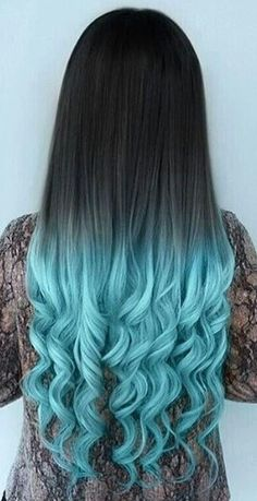 Blue ombre dyed hair