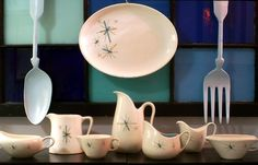 Salem North Star Pitchers, Creamers, and Gravy Boats...I own some of these dishes...I love this pattern!...b♡