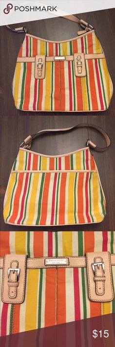 Etienne Aigner Cute Striped Canvas Purse Etienne Aigner Cute Striped Canvas Purse. Perfect for summer, excellent condition! Smoke and pet free home. Etienne Aigner Bags Shoulder Bags