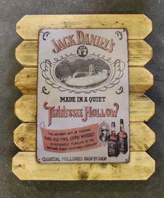 Jack Daniels Retro Metal Poster Framed in Distressed Pinewood by ArtMaxAntiques on Etsy