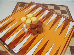 Vintage BackGammon & Checkers Board Games  Retro by DivineOrders
