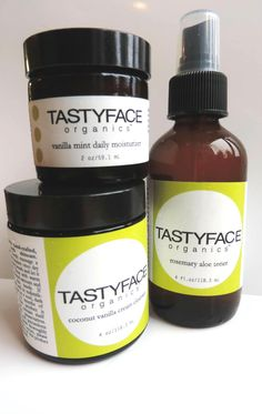 the tasty basic set: cleanser, toner All natural.you could eat it! Cleanser, Moisturizer, Organic Skin Care Lines, Home Detox, Body Love, Healthy Skin, Natural Remedies, Tasty, Health Products