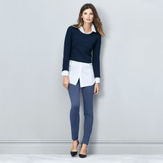 Like the crop sweater over the white shirt...think this would be cooler with light wash skinny jeans and boots