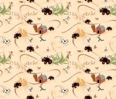 Hog wild on the tractor 2 fabric by yvonne_herbst on Spoonflower - custom fabric add green gingham on for border