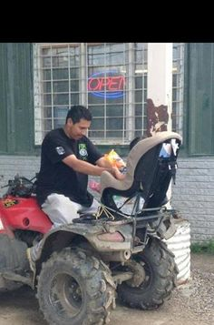 """Baby car seat on an ATV totally safe right? - Imgur 