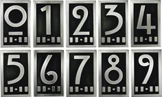 Home And Furniture: Appealing Art Deco House Numbers On 10 Easy Pieces Tile And Number Art Deco House Numbers - Fayeflam Craftsman House Numbers, Craftsman Style Homes, Craftsman Decor, Charles Rennie Mackintosh, Art Nouveau, Slow Design, Color Plan, Art Deco Home, Art Deco Design