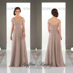 3426af051c51 Sorella Vita #8922 - Floor length cold shoulder style bridesmaid dress with  delicate rouching at