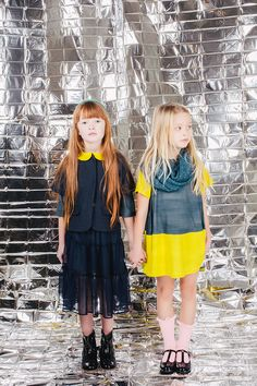 Vivid yellow contrasts for girls partywear at Paade Mode showing at Playtime Paris fall 2016 kidswear