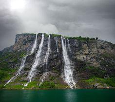 The Seven Sisters Geirangerfjorden, Møre og Romsdal, #Norway. ☮k☮ #Norge