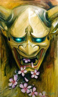 japanese devil mask for tattoo