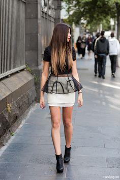 Black #Peplum #Top & White #Skirt