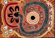 This 'Rainbow Serpent' waterways; descended from that larger being visible as a dark streak in the Milky Way, it reveals itself to people in this world as a rainbow as it moves through water and rain, shaping landscapes, naming and singing of places, strengthening the knowledgeable with rainmaking and healing powers; blighting others with sores, weakness, illness, and death
