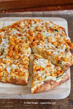 Buffalo Chickpea Pizza with White Garlic Sauce and Celery Ranch Dressing. Vegan Recipe - Vegan Richa - Food - Buffalo Chickpea Pizza with White Garlic Sauce and Celery Ranch Dressing. Vegan Recipe The Effectiv - Veggie Recipes, Whole Food Recipes, Vegetarian Recipes, Cooking Recipes, Healthy Recipes, Pizza Recipes, Free Recipes, Vegan Chickpea Recipes, Vegetarian Pizza