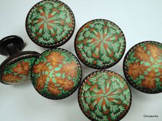 Cabinet Knobs, copper and shades of soft green (Etsy)