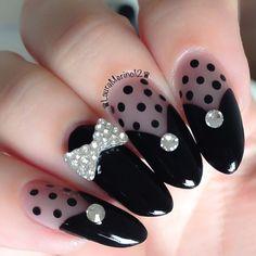 elegant sheer black formal lbd nail design by lauramerino12 #fav <3