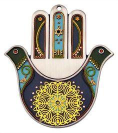 Ester Shahaf Pewter Wall Hamsa with 'Dove Design' and Gold Filigree Arte Judaica, Hamsa Art, Peace Dove, Golden Flower, Hand Of Fatima, Jewish Art, Hamsa Tattoo, Gold Filigree, Hanging Ornaments