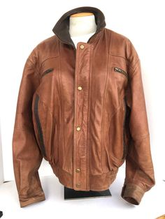 c1b06c2d3500 Weekends Mens Snap Buttons Biker Motorcycle Brown Leather Jacket