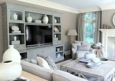 Gorgeous blue-gray custom built in, Westport Family Home contemporary family room