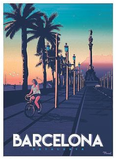 "Affiche Barcelona ""Passeig de Colom"" - Book Illustration Posters for Sale: Prints, Paintings & Wall Art . New Travel, Spain Travel, Art Deco Posters, Poster Prints, Surf Vintage, Old Poster, National Park Posters, Kunst Poster, Vintage Travel Posters"