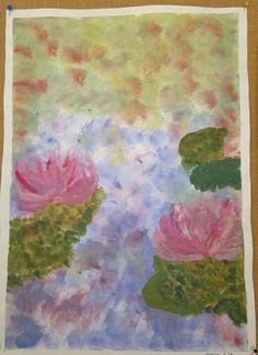 Impressionismi, Claude Monet. Peitevärit. Tausta tuputtamalla, kuivumisen jälkeen maalaus päälle siveltimellä.