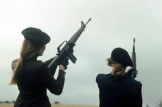 Women of the IRA pose with M16 rifles during a training and propaganda exercise in Northern Ireland. February 12th, 1977.