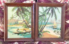Vintage Pair of Hawaiian Paint By Number