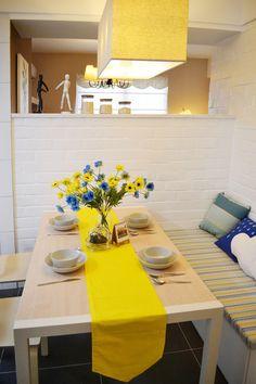 #decor yellow & white dining room