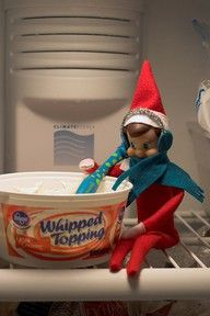 adventures of feagle day 15 The Elf got in the freezer? Not sure the kids would look there.but a good elf on the shelf idea nonetheless!The Elf got in the freezer? Not sure the kids would look there.but a good elf on the shelf idea nonetheless! All Things Christmas, Christmas Holidays, Christmas Ideas, Christmas Activities, Christmas Crafts, Christmas Decorations, Elf Magic, Elf On The Self, Naughty Elf