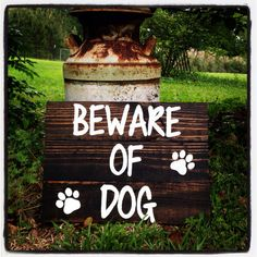 Hand painted pallet beware of dog sign by TURQUOISETOO on Etsy