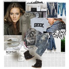 Romwe by ruska-10 on Polyvore featuring мода, Current/Elliott, Diesel, Isabel Marant, Chanel, H&M and Madewell