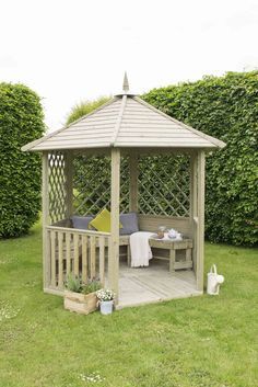 A gazebo is a stunning add-on to a backyard. This gazebo might be your personal oasis or a fantastic location for family gathering. Modern Gazebo, Small Gazebo, Diy Gazebo, Backyard Gazebo, Garden Gazebo, Backyard Landscaping, Gazebo Ideas, Garden Sheds, Landscaping Ideas